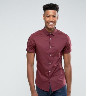 ASOS Бордовая облегающая рубашка с короткими рукавами TALL. Цвет: красный
