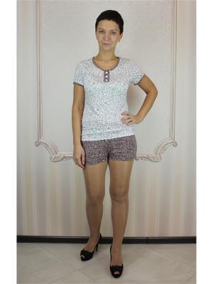 Пижама с шортами Агапэ. Цвет: коричневый, белый