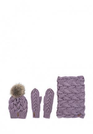 Комплект шапка, снуд и варежки Sava Mari. Цвет: фиолетовый