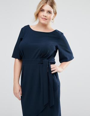 Closet Plus Платье с запахом спереди. Цвет: темно-синий