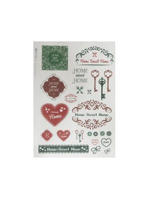 Декупажная карта 32*45 Home Sweet зелен Idigo. Цвет: сиреневый, прозрачный