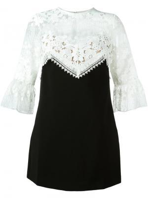 Короткое платье с вышивкой Self-Portrait. Цвет: чёрный