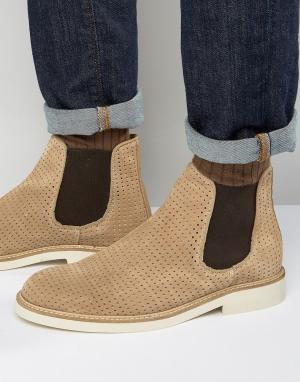 Selected Homme Замшевые ботинки челси с перфорацией Noah. Цвет: светло-бежевый