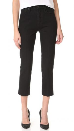 Укороченные джинсы Refit с высокой посадкой GOLDSIGN. Цвет: прессованный черный