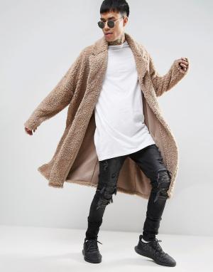 ASOS Бежевое легкое оversize-пальто из искусственного меха. Цвет: бежевый