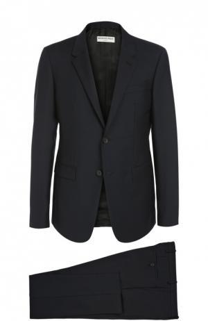 Приталенный шерстяной костюм Balenciaga. Цвет: темно-синий