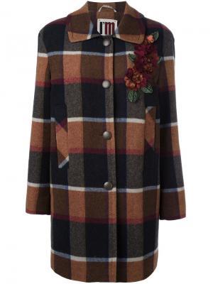 Однобортное клетчатое пальто IM Isola Marras I'M. Цвет: коричневый