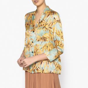 Рубашка-пижама из шелка с принтом POMANDERE. Цвет: зеленый