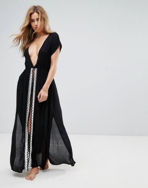 Liquorish Пляжное платье макси с вышивкой и разрезом. Цвет: черный