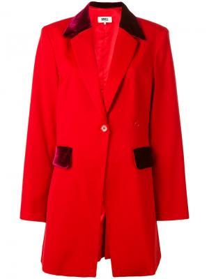 Пиджак с бархатными вставками Mm6 Maison Margiela. Цвет: красный