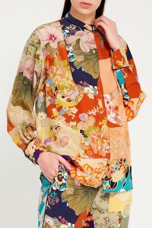 Цветная блузка с ярким принтом Gucci. Цвет: multicolor