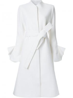 Пальто с поясом и потайной застежкой Goen.J. Цвет: белый