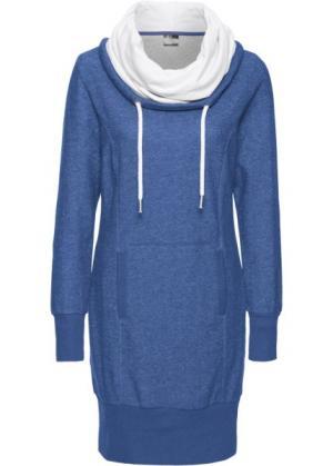Платье из трикотажа, с длинным рукавом (меланжевая ночная синь) bonprix. Цвет: меланжевая ночная синь