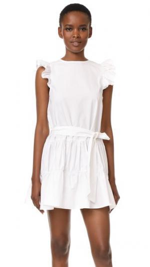 Платье с оборками и завязками ENGLISH FACTORY. Цвет: белый