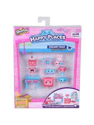 Игровой набоор для декора Happy Places Петкинс  Мишки спальни Moose. Цвет: розовый