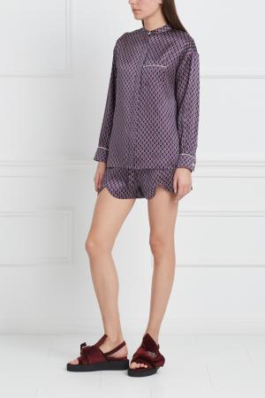 Шелковая пижама Vita Olivia von Halle. Цвет: фиолетовый