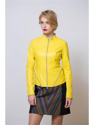 Кожаная куртка SUSSEX. Цвет: желтый
