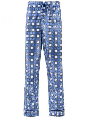Пижамные брюки с узором из квадратов Otis Batterbee. Цвет: синий