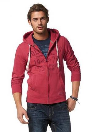 Трикотажная куртка с капюшоном Colorado. Цвет: красный