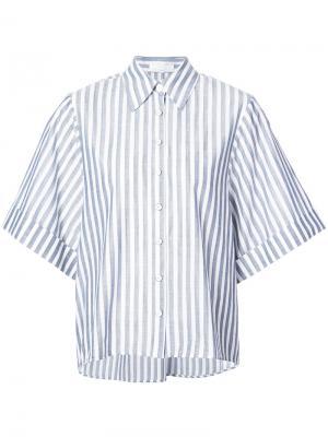 Рубашка в полоску с короткими рукавами Caroline Constas. Цвет: синий