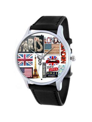 Дизайнерские часы Символы Столиц Мира Tina Bolotina. Цвет: черный, красный, синий
