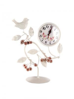 Часы настольные Птица 21х28 см Jia Cheng. Цвет: розовый, белый
