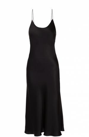 Шелковая сорочка с открытой спиной Olivia Von Halle. Цвет: черный