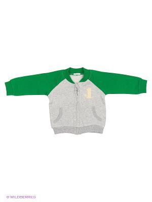 Кардиган United Colors of Benetton. Цвет: зеленый, светло-серый