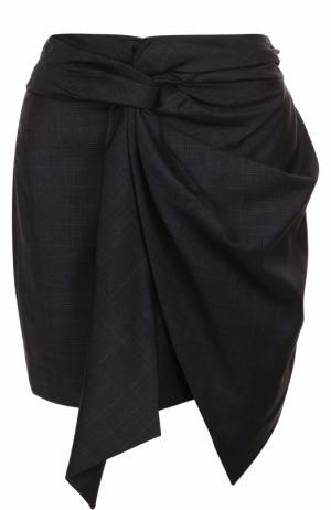 Шерстяная мини-юбка с бантом Isabel Marant Etoile. Цвет: темно-синий