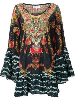 Платье с цветочным принтом и открытыми плечами Camilla. Цвет: красный