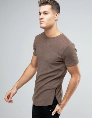 ASOS Длинная обтягивающая футболка из вафельного трикотажа с молниями по бо. Цвет: коричневый
