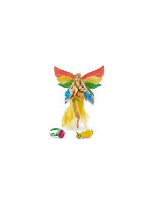 Радужная эльфийка Мина с летающей белкой SCHLEICH. Цвет: бежевый, желтый