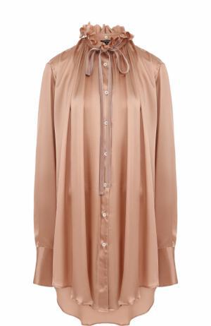 Однотонная шелковая блуза свободного кроя Ann Demeulemeester. Цвет: бежевый