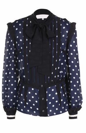 Приталенная шелковая блуза с воротником аскот Maison Margiela. Цвет: темно-синий