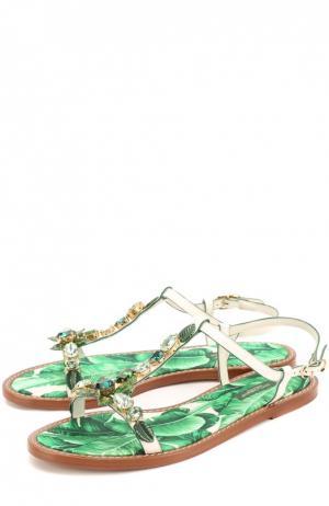 Кожаные сандалии Portofino с кристаллами Dolce & Gabbana. Цвет: зеленый
