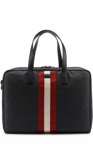 Дорожная сумка с отделкой из натуральной кожи Bally. Цвет: синий