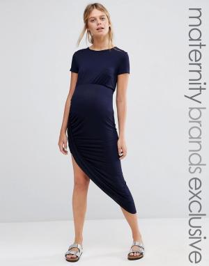 Club Lounge Maternity Платье макси в рубчик для беременных с короткими рукавами. Цвет: темно-синий