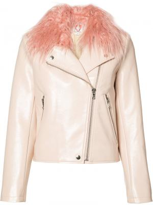 Байкерская куртка Blush Taffy Shrimps. Цвет: розовый и фиолетовый