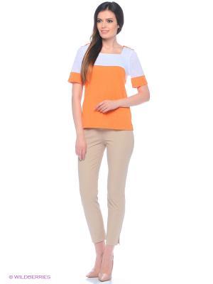 Блузка Valeria Lux. Цвет: белый, оранжевый