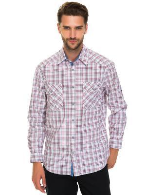 Рубашка Westrenger. Цвет: серый, темно-красный, белый