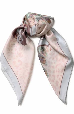 Шелковый платок с принтом Roberto Cavalli. Цвет: светло-розовый