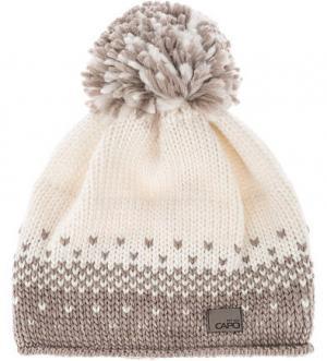 Вязаная шапка с помпоном и подкладкой Capo. Цвет: молочный