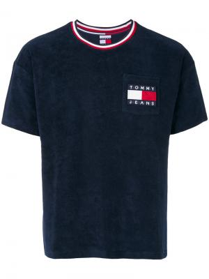 Футболка с заплаткой логотипом Tommy Jeans. Цвет: синий