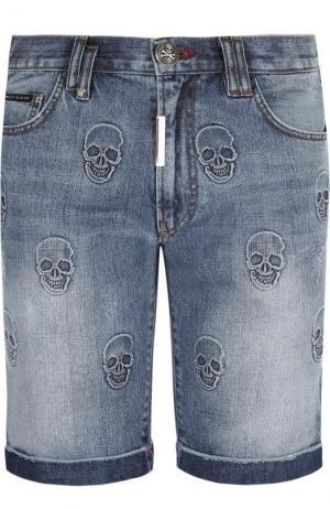 Джинсовые шорты с объемной отделкой Philipp Plein. Цвет: голубой