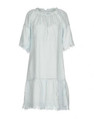 Короткое платье 120% LINO. Цвет: небесно-голубой