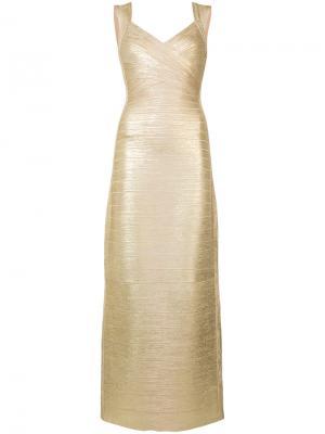 Платье с V-образным вырезом Hervé Léger. Цвет: жёлтый и оранжевый