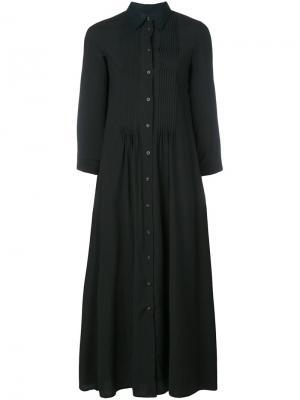 Длинное плиссированное платье-рубашка Mm6 Maison Margiela. Цвет: чёрный