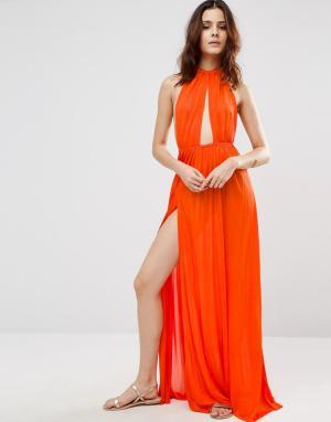 ASOS Пляжное платье макси с плетеным ремешком. Цвет: оранжевый