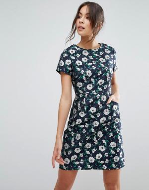 Uttam Boutique Жаккардовое платье-трапеция с цветочным принтом. Цвет: темно-синий