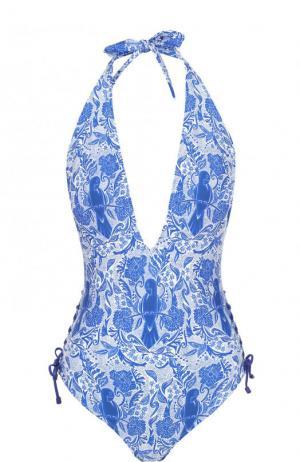 Слитный купальник с открытой спиной и принтом Lazul. Цвет: синий